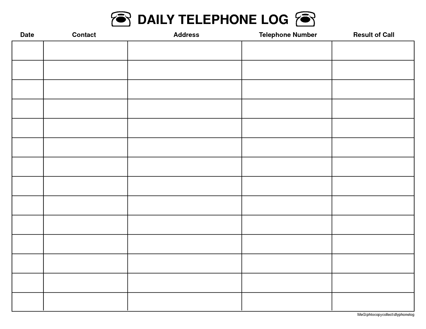 Contact Log Template | Telephone Call Log Template