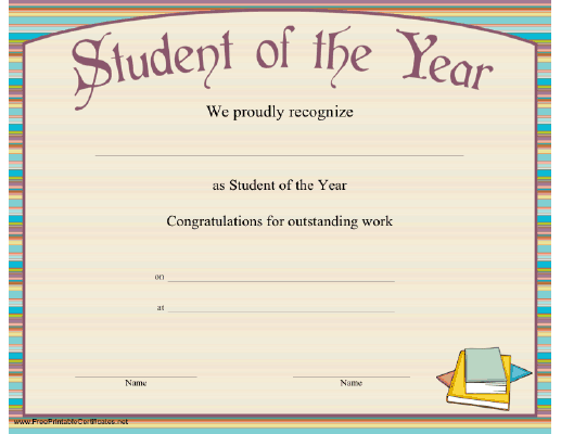 Top 5 resources to get free student of the year award for Student of the year certificate template