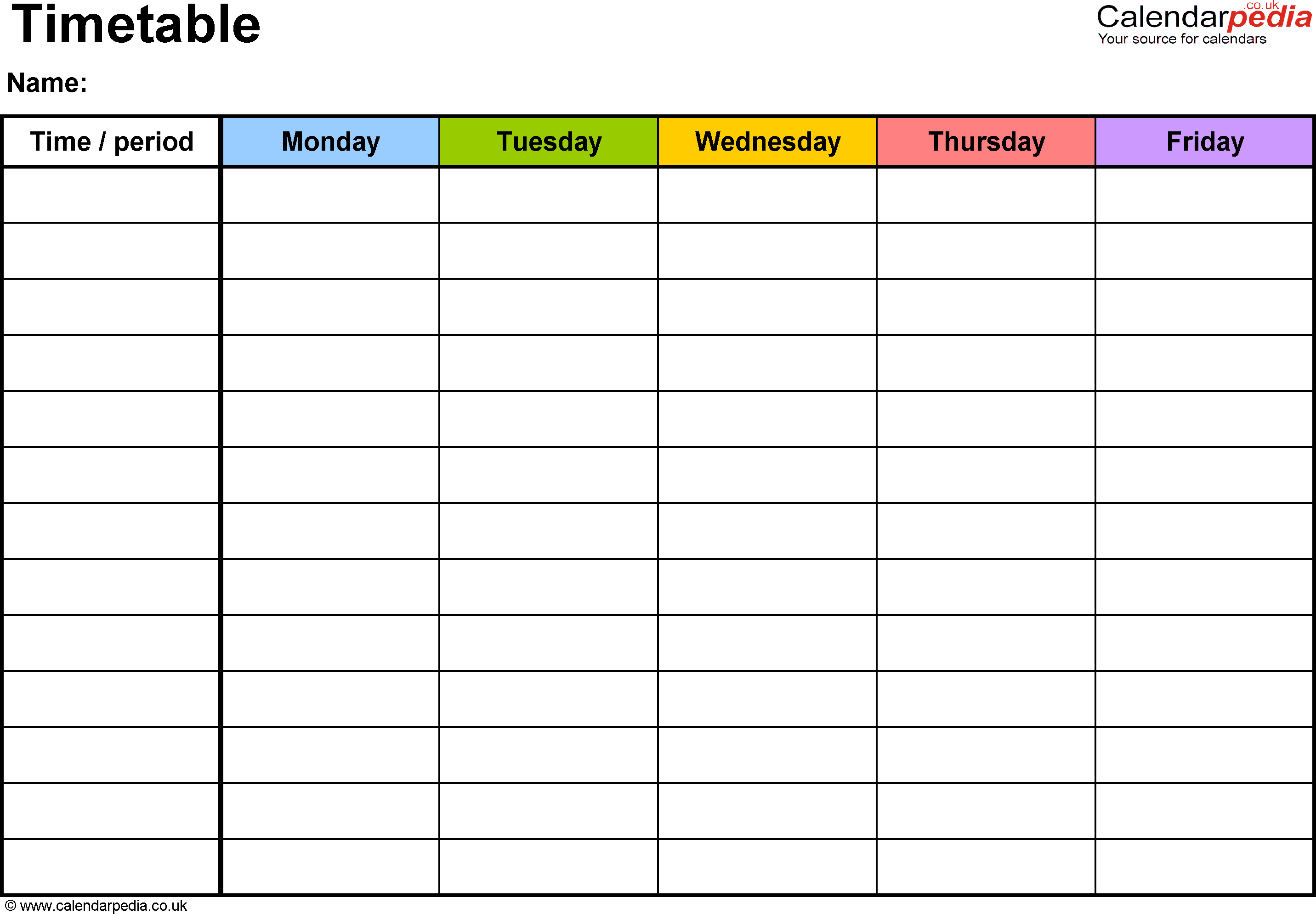 time table template 1641