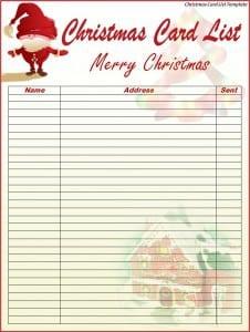 Christmas Card List Template