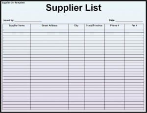 Supplier List Template