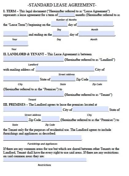 Lease Agreement Templates 1654