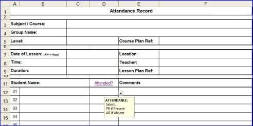 attendance list template 16413