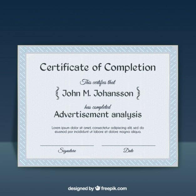 certificate of completion template 3464