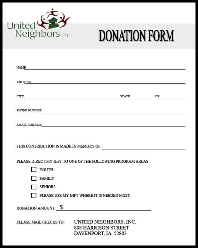 donation form template 26971
