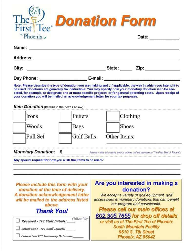 donation form template 39741