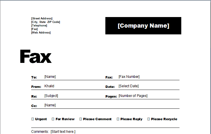 fax word template 1745