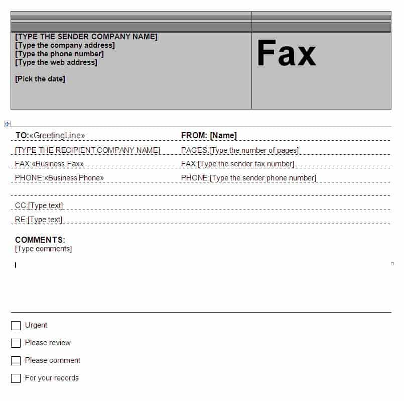 fax word template 264