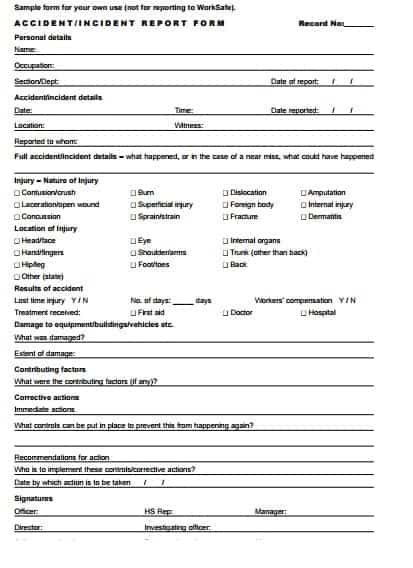 incident report template 574