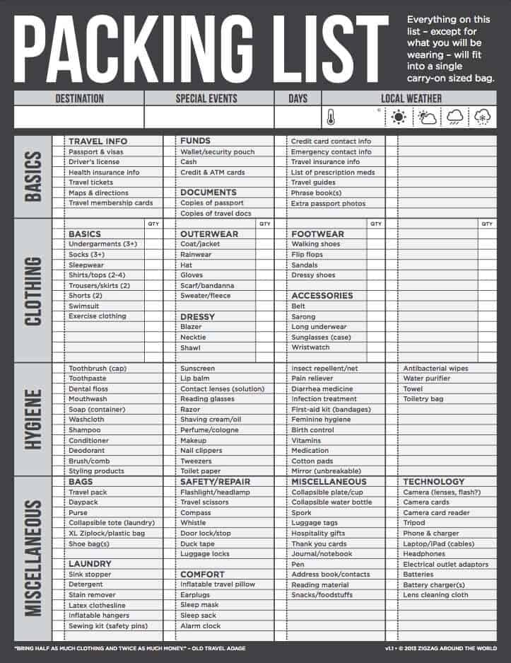 packing list template 26744