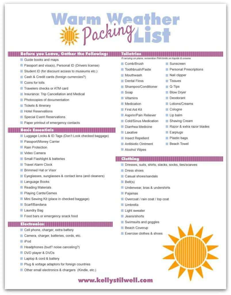 top 5 free packing list templates