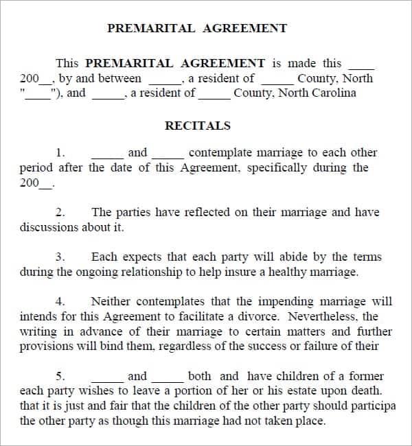 Prenuptial Agreement Template 3151