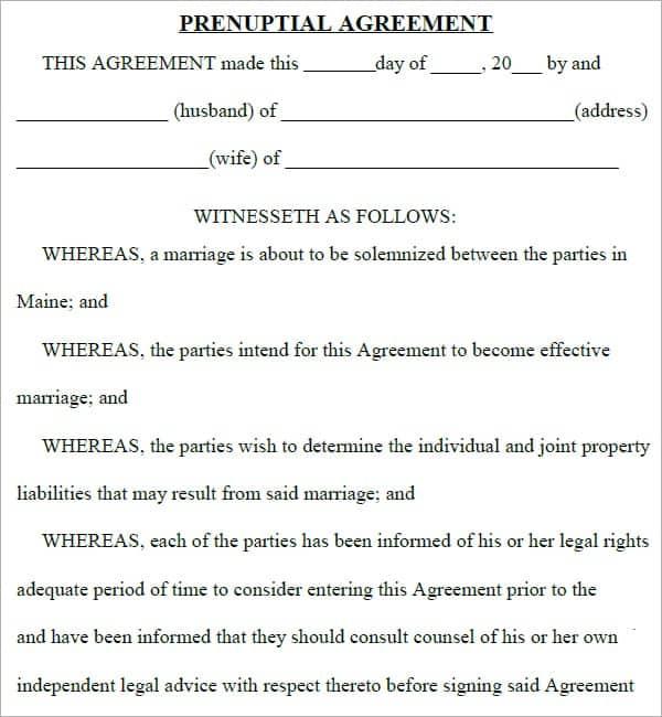 Prenuptial Agreement Template 5541