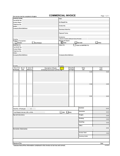 commercial invoice template 54103