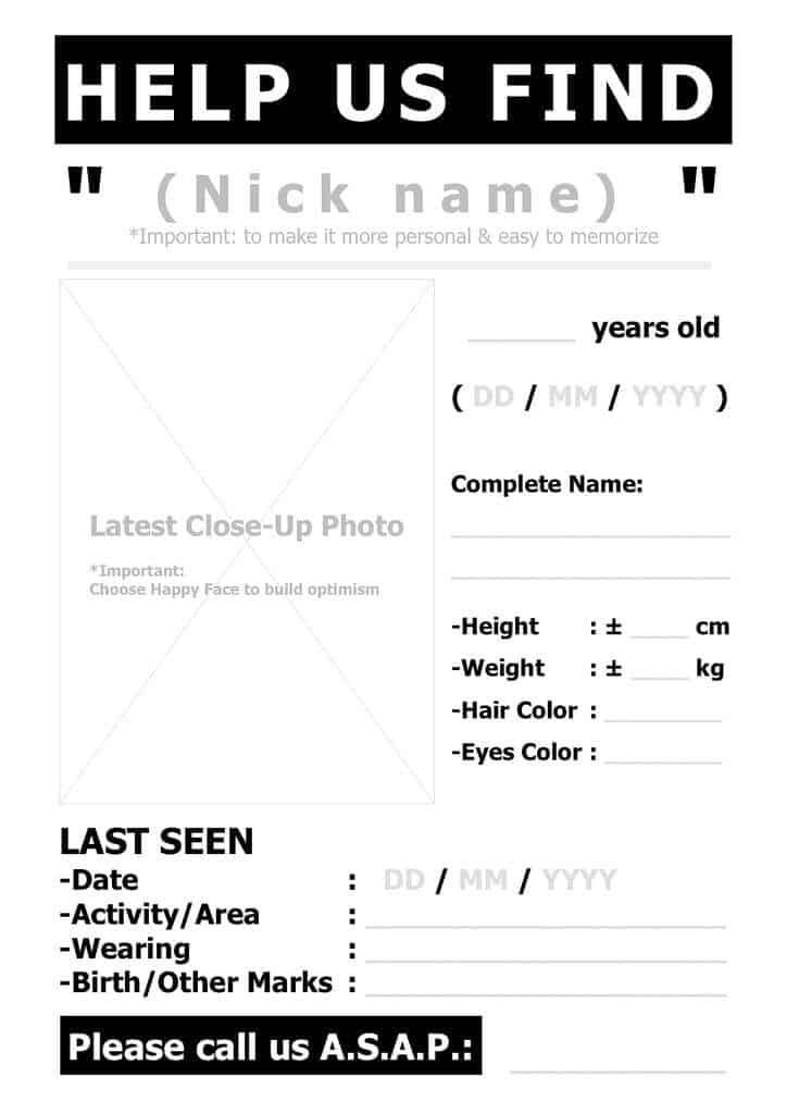 missing person poster template2541