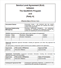 service level agreement template 25642