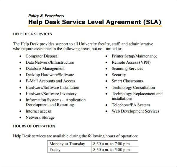 service level agreement template 34854