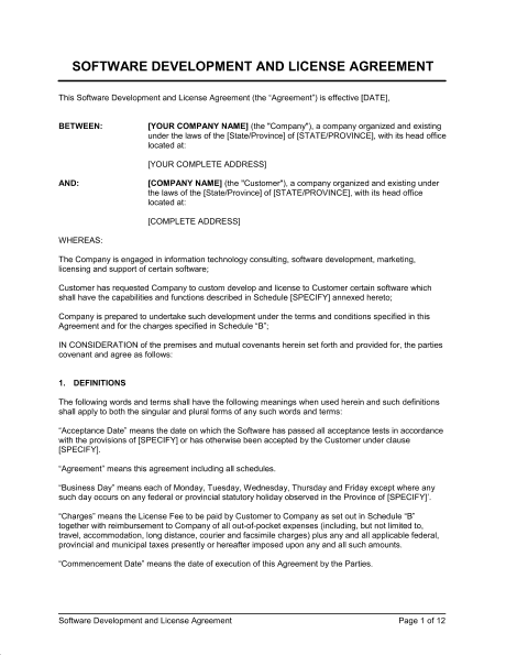 software license agreement template 356874