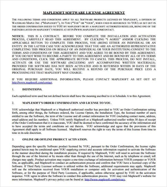 software license agreement template 4587