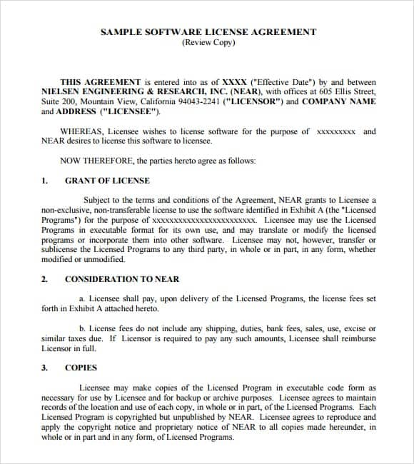 software license agreement template 5987