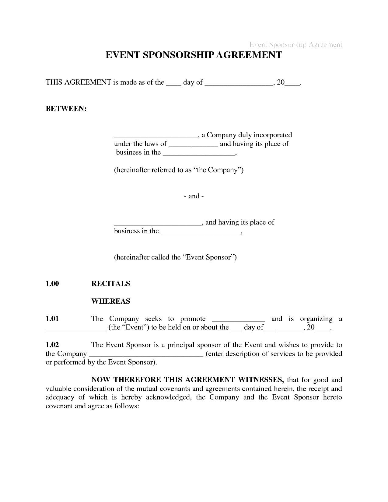 sponsorship agreement template 1541