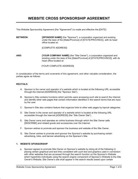 sponsorship agreement template 34151