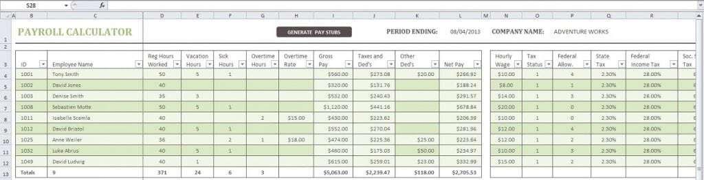 payroll template 2145