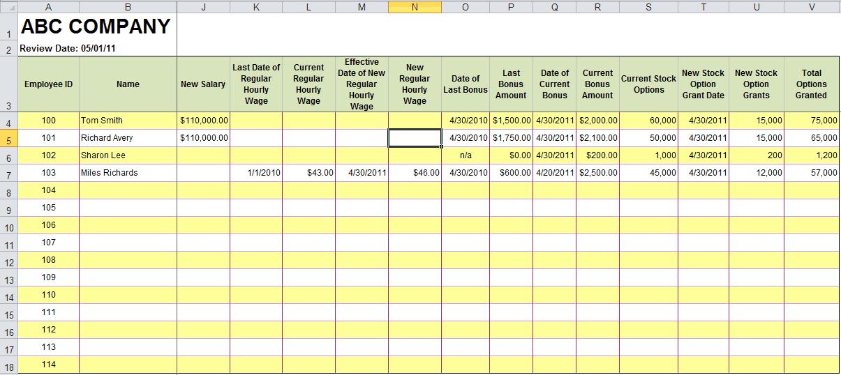 payroll template 5968