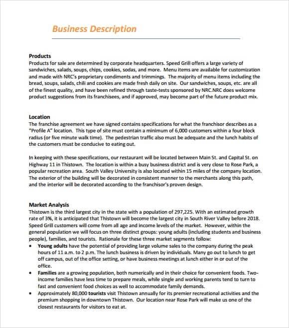 restaurant business plan template 2341