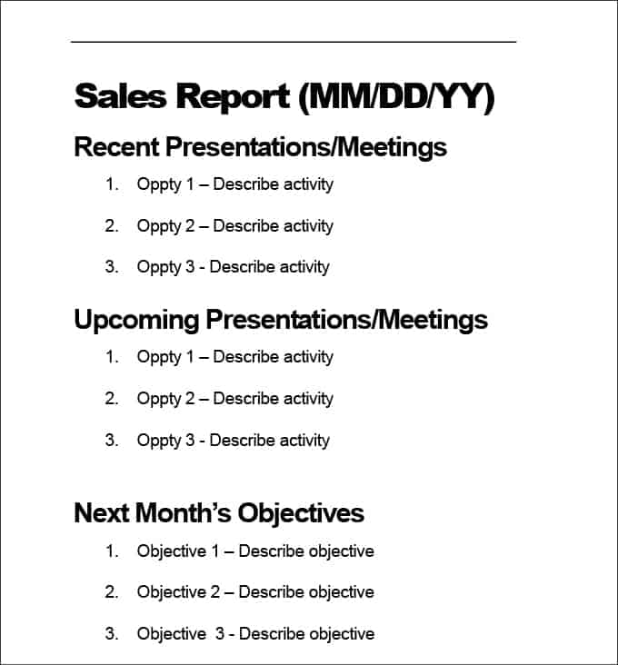 sales report template 1987