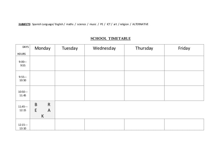 timetable template 2454