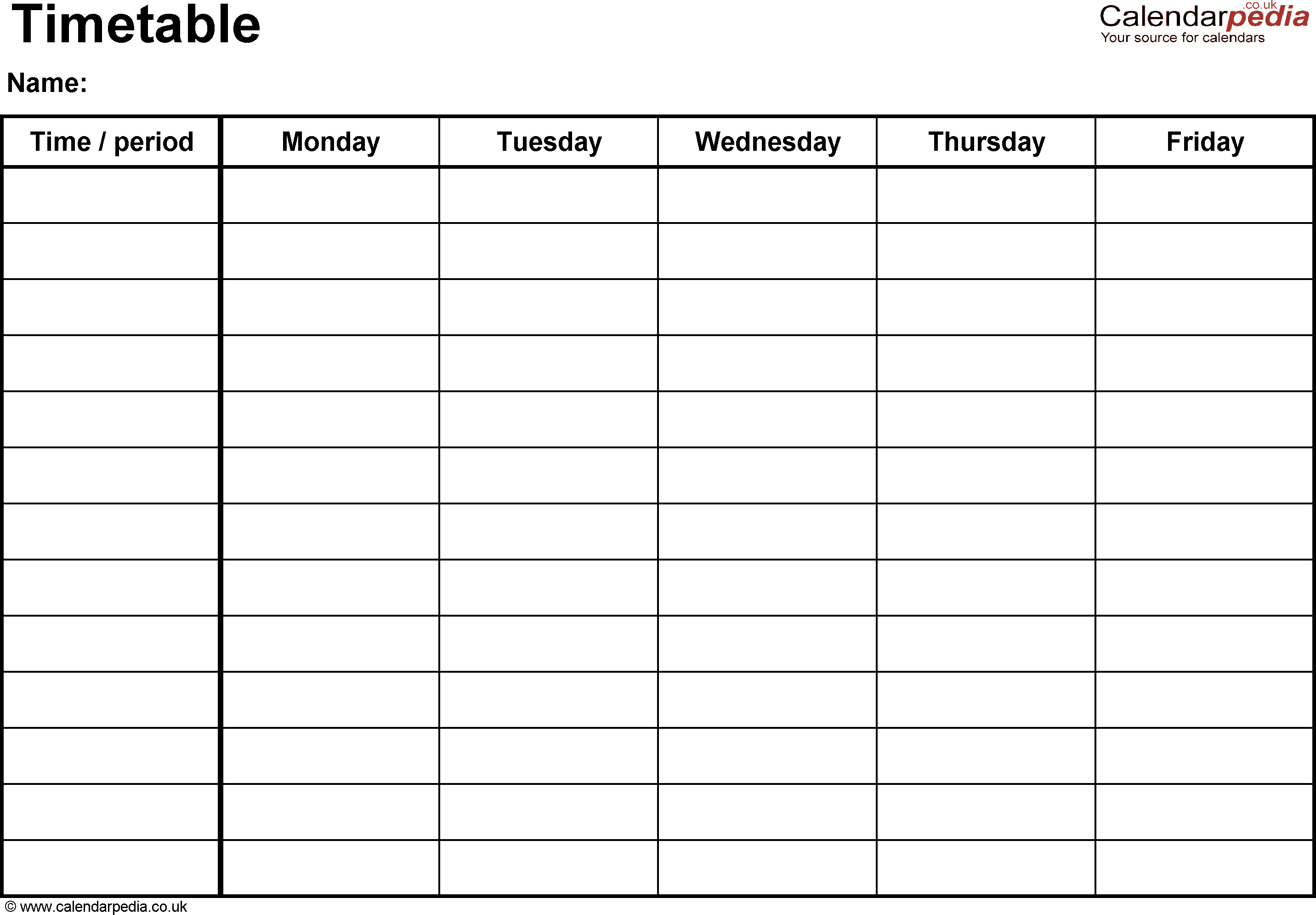 timetable template 4214