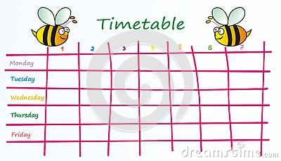 timetable template 5871