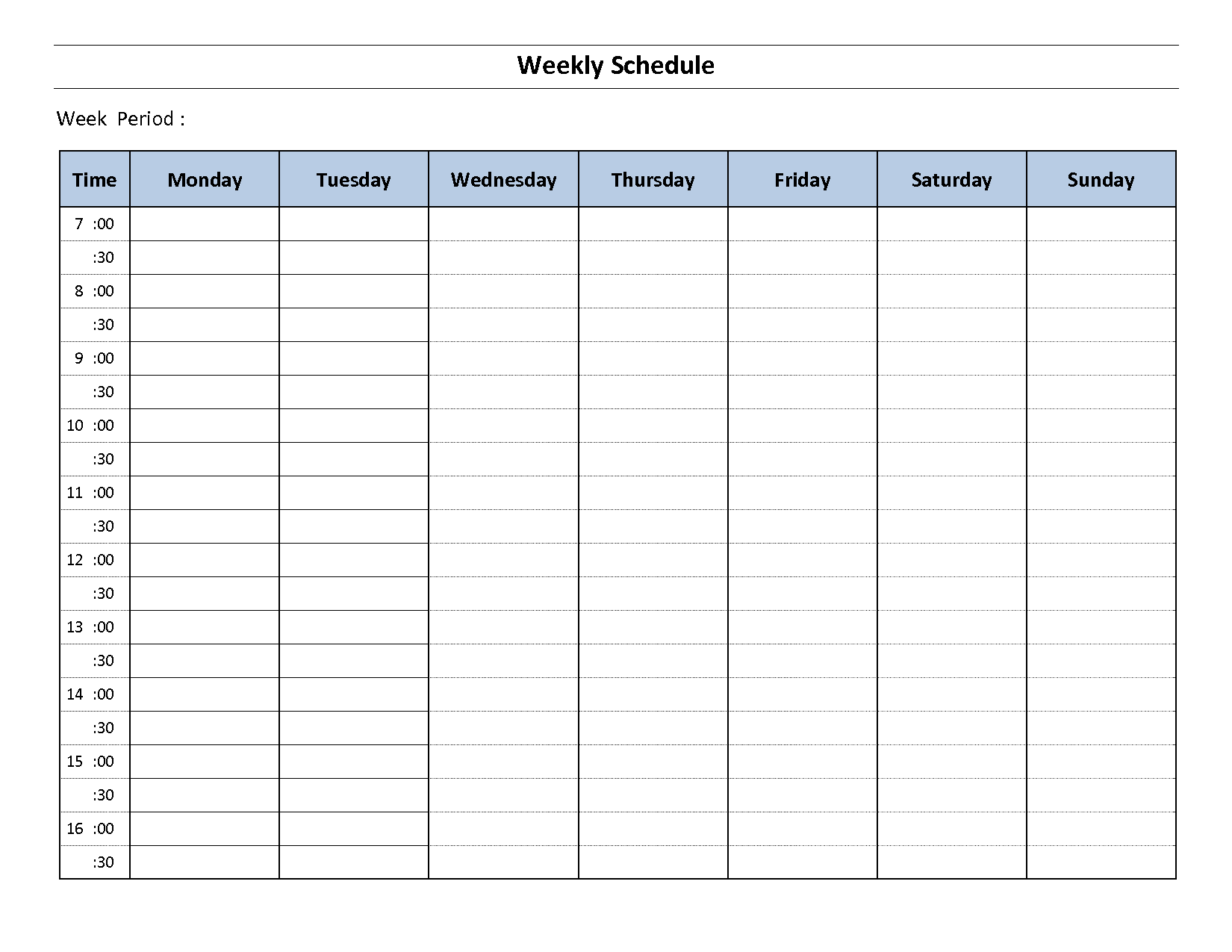 Top 5 Resources To Get Free Weekly Schedule Templates ...