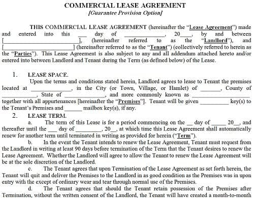 commercial lease agreement template 52341