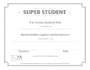 Student of the Year Award Template