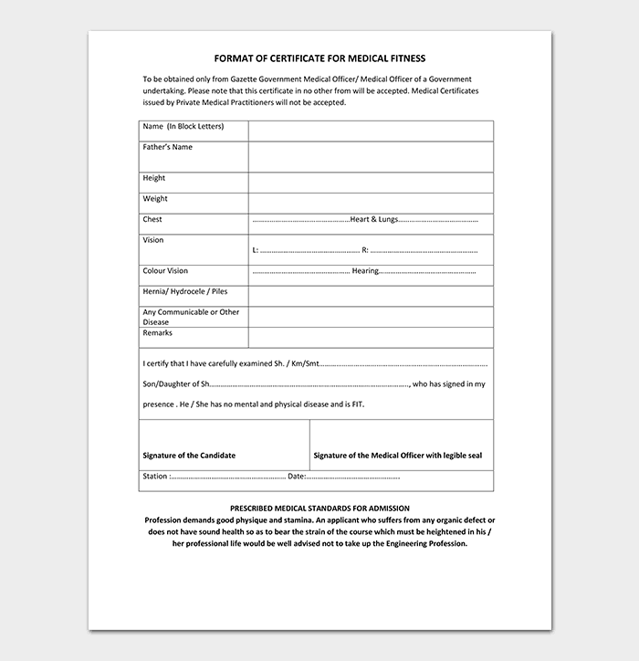 certificate medical templates template fitness word certificates formats