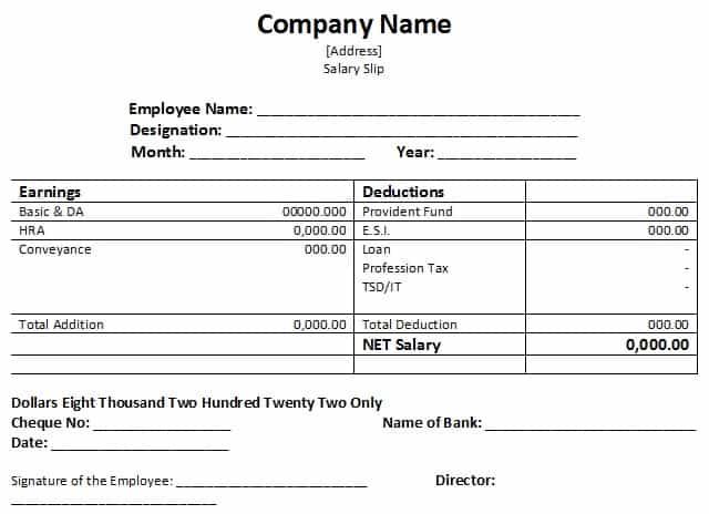 download salary slip format