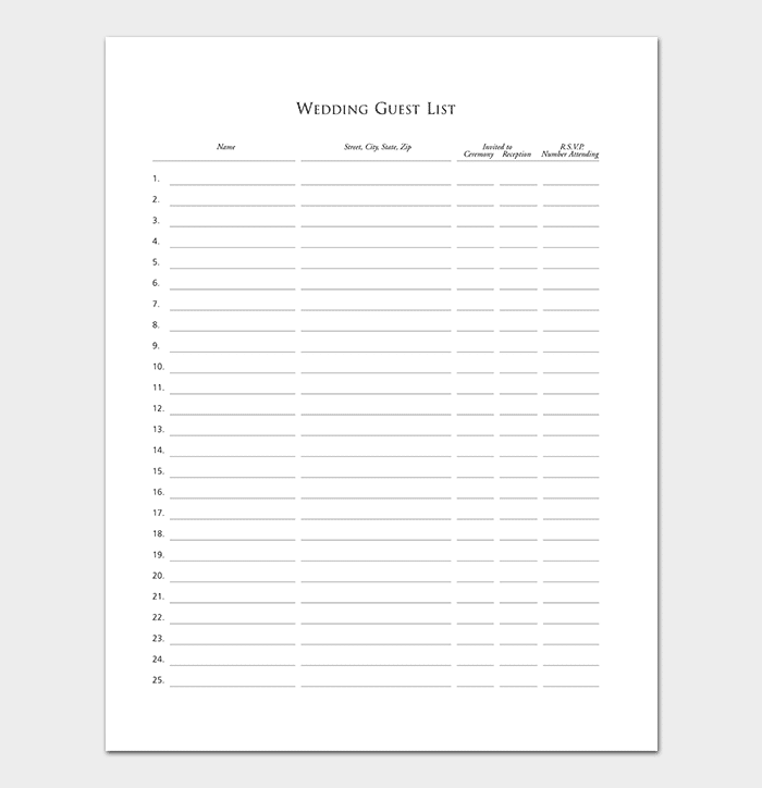 13  guest list templates  wedding party events  u2013 word