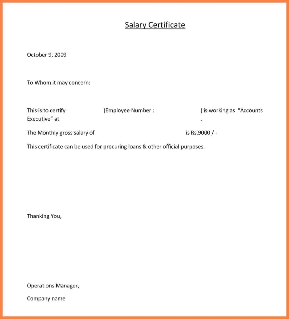11  free salary certificate templates  u2013 word excel templates