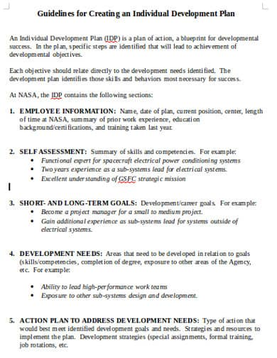 Development Action Plan Template from www.docspile.com